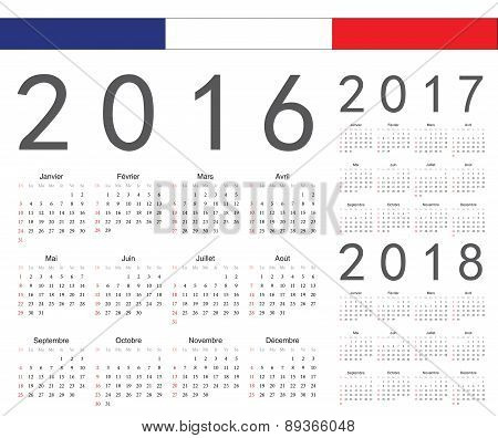 Set Of French 2016, 2017, 2018 Year Vector Calendars