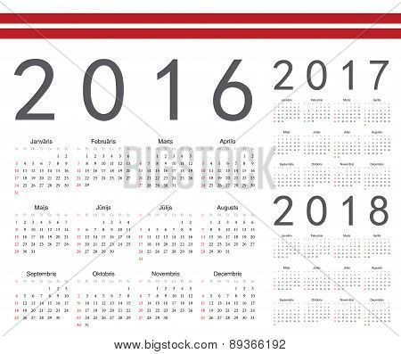 Set Of Latvian 2016, 2017, 2018 Year Vector Calendars
