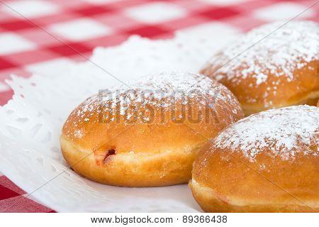 Closeup Of Fresh Rasberry Doughnut