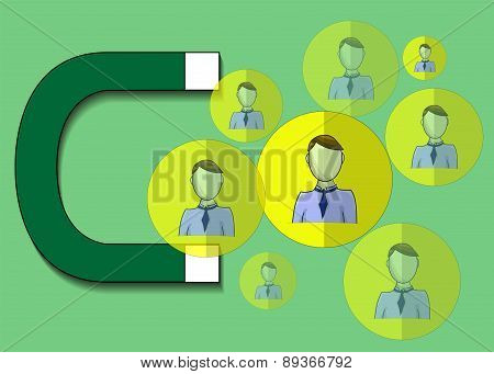 Illustration Of Magnet Attracting Business People