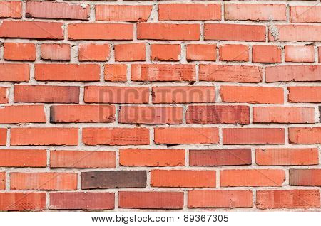 Red brick wall background. Closeup fragment.