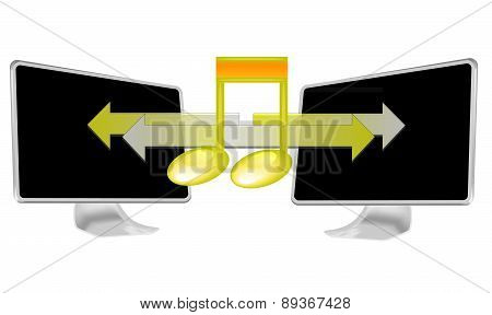 Illustration Of Streaming Music On Pc Isolated On White Background