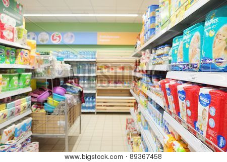 MOSCOW, RUSSIA  -  APRIL 07, 2015: Supermarket Pyaterochka with the most affordable prices. Russia's largest retailer. Trading room of a grocery supermarket