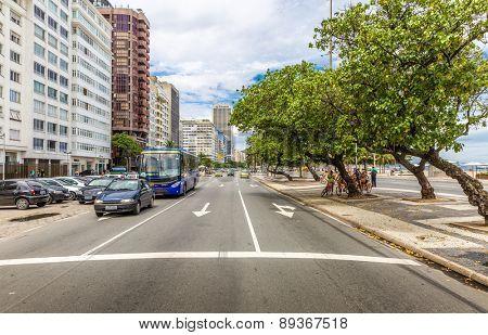 RIO DE JANEIRO, BRAZIL - CIRCA NOVEMBER 2014: The famous Atlantic Avenue in Copacabana, Rio de Janeiro, Brazil.