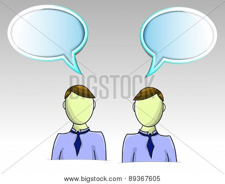 Illustration Of Two Business Men With Text Balloons