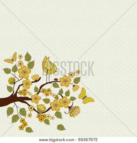 Cute Bird On Branch With Flowers And Leafs