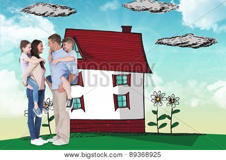 Side view of parents giving piggyback ride to children against blue sky