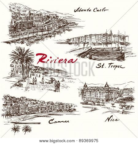French Riviera - hand drawn set
