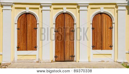 Wooden doors and windows with shutters