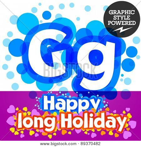 Vector set of happy festive motley alphabet. Letter G