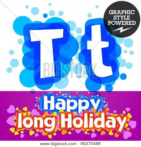 Vector set of happy festive motley alphabet. Letter T