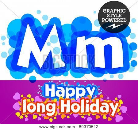 Vector set of happy festive motley alphabet. Letter M