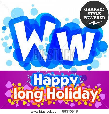 Vector set of happy festive motley alphabet. Letter W