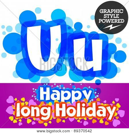Vector set of happy festive motley alphabet. Letter U