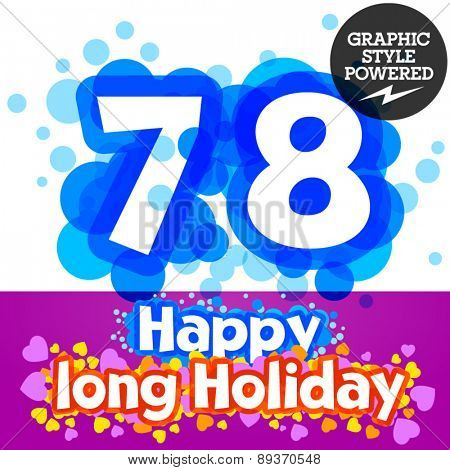 Vector set of happy festive motley alphabet. Numbers 7 8