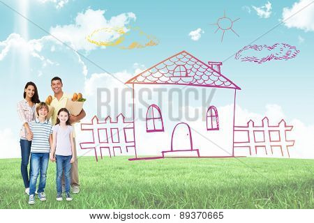 Happy family with grocery bags against blue sky over green field