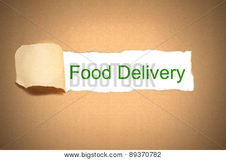 Brown Package Paper Carton Torn To Reveal Food Delivery