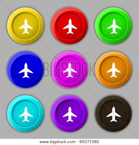 Airplane, Plane, Travel, Flight Icon Sign. Symbol On Nine Round Colourful Buttons. Vector