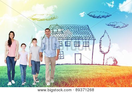 Portrait of happy family walking over white background against blue sky over green field