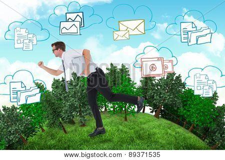 Geeky businessman running late against blue sky