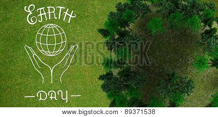 Sphere covered with forest against green background