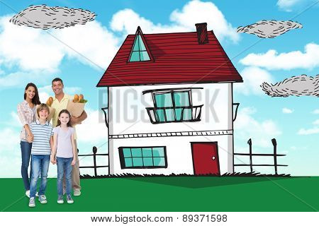 Happy family with grocery bags against blue sky