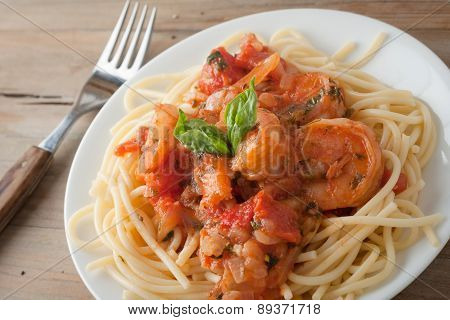 Shrimp In Wine Tomato Sauce Over Spaghetti Pasta