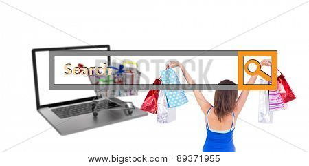 Rear view of a brunette woman raising shopping bags against search engine