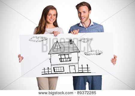 Happy young couple with blank board against white background with vignette