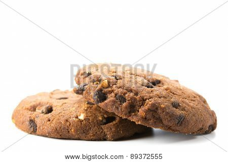 Homemade cookies with chocolate and hazelnuts