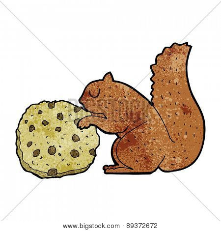 cartoon squirrel eating a cookie