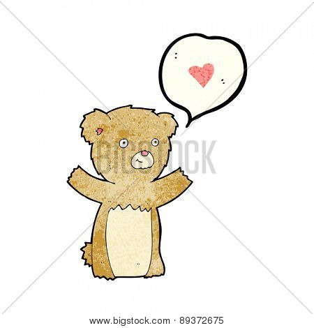 cartoon teddy bear with love heart