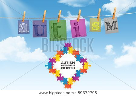Autism awareness month against digitally generated grey background