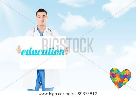 The word education and portrait of a doctor holding a blank panel against blue sky