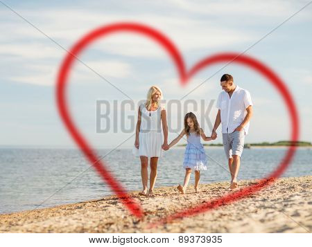 summer holidays, children, family and people concept - happy family at the seaside