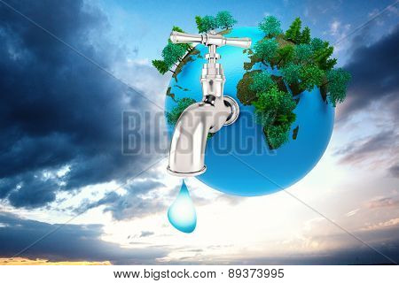 Earth with faucet against blue and orange sky with clouds