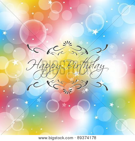 Happy birthday vector illustration with ornate elements