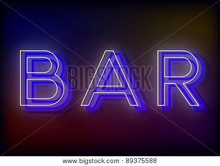 Bar neon sign, design for your business.