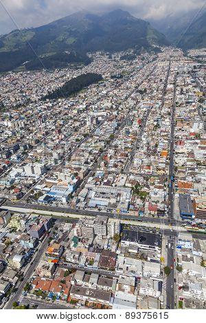 Quito, Ecuador - April 15 2014: Aerial view of the northern sector of downtown Quito, streets Las Casas, Cuero y Caicedo, Selva Alegre and Av. Aug. 10.