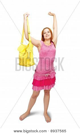 Happiness Girl  With Yellow Handbag