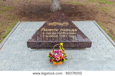 Memorial Sign On The Central Square Dedicated To The Parade In 1941 In Samara, Russia