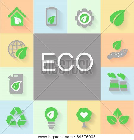 vector flat design concept illustrations with icons of ecology, environment, green energy and pollut
