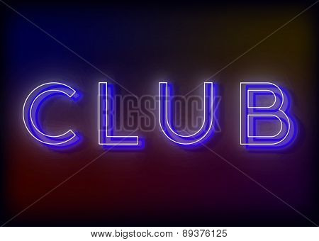 Neon Club. Club neon sign.