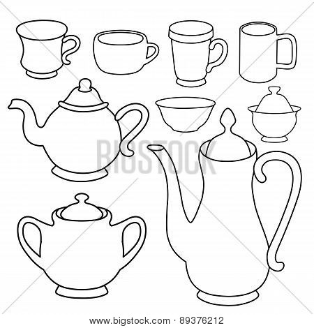 Simple Coffee Tea Crockery Silhouette Set