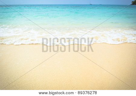 Soft Wave On Sand  Beach, Krabi, Thailand