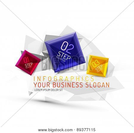 Vector fresh business abstract infographics on 3d triangular background