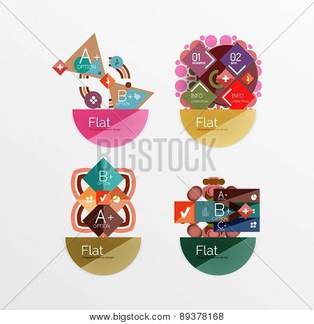 Set of abstract geometric shapes with options. Infographic banners, layouts. Paper graphics