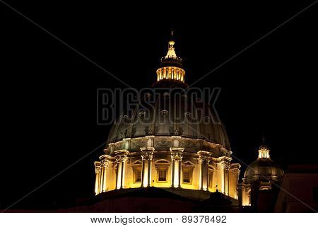 Cupola Of St Peter By Night