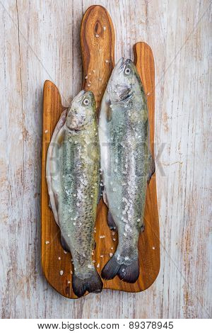 Fresh Fish Trout On The Kitchen Board