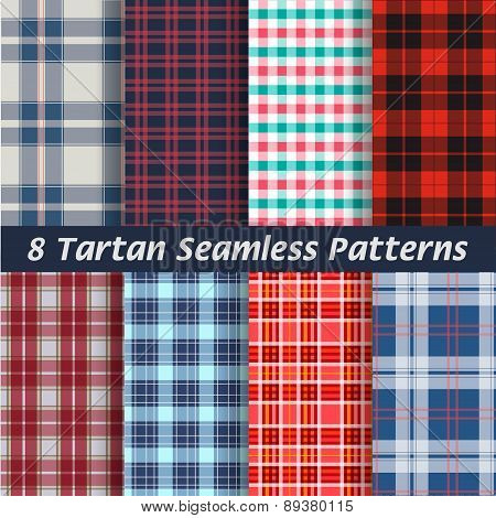 vector set of tartan squared seamless abstract fabric, background